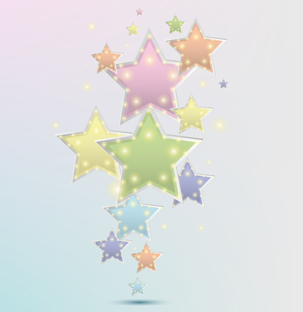 Vector three-dimensional star, template