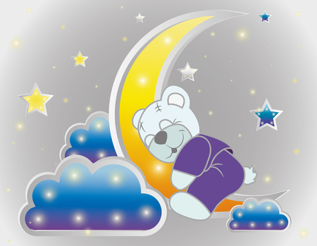 Sleeping bear Vector background with stars, clouds, pattern. Illustration