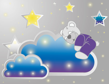 Cute bear Vector background with stars, clouds, pattern. Иллюстрация