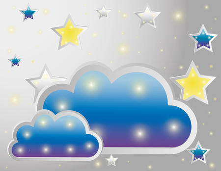 Blue Vector background with stars, clouds, pattern Иллюстрация