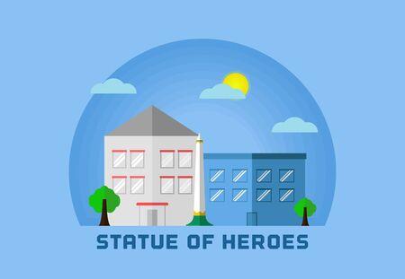 statue of heroes surabaya indonesian flat art design