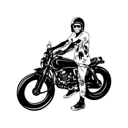 vector motorcycle design with sketch style