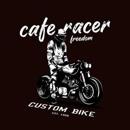 Vector illustration of a cafe racer with a classic style