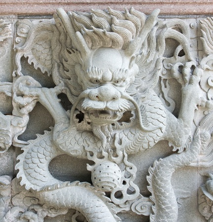 Carved on the wall of the Dragon in chinese temple photo