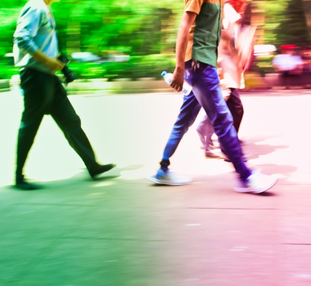city people crowd abstract background blur action  photo