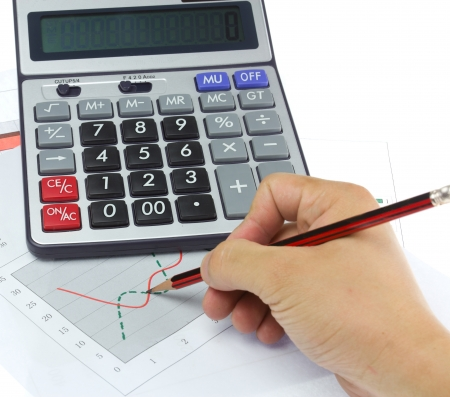 Calculator on a business background  photo