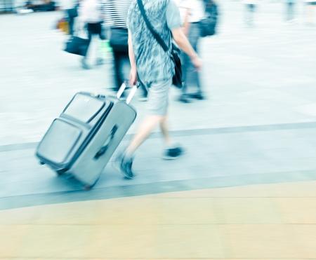 walking passenger in railway station blur motion Stock Photo - 13813011
