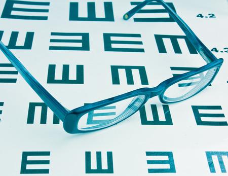 eye chart: Glasses and eye chart background