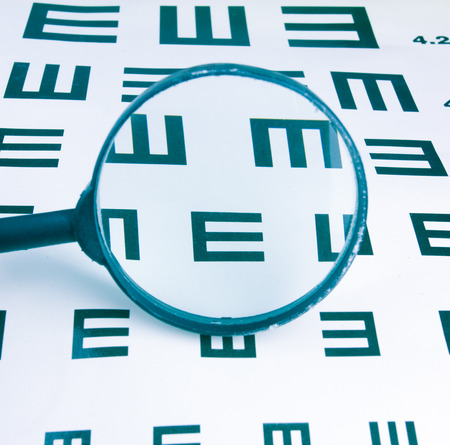 Magnifier and eyesight chart background