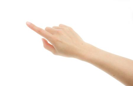 dedo indice: Pantalla t�ctil de la mano de la mujer aislada en el fondo blanco Foto de archivo