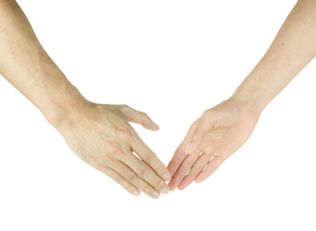Men and women hands about to shake hands isolated on white photo