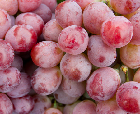purple red grapes: Fresh red grapes in a market