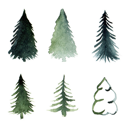 Free-hand drawing of fir-tree abstract silhouettes in green watercolor for postcard and pattern
