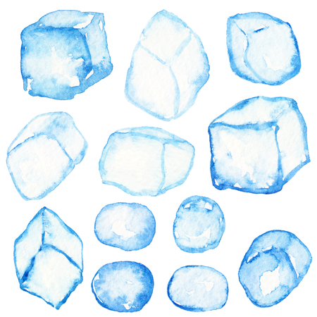 Blue cristal ice cubes isolated. Abstract watercolor free hand drawn illustration for postcard, invitation, banner, wrapping, background