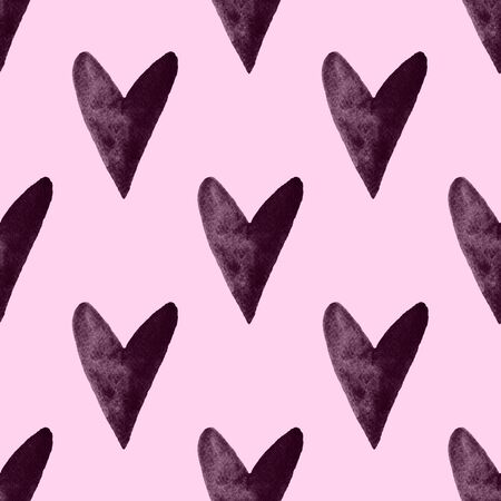 Simple hearts valentines pattern. Abstract watercolor free-hand illustration for greeting card, invitation, banner, wrapping, cloth, textile, paper, background