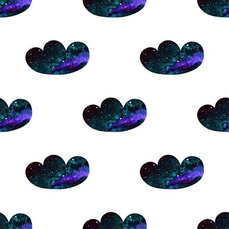 Simple clouds valentines pattern. Abstract watercolor free-hand illustration for greeting card, invitation, banner, wrapping, cloth, textile, paper, background