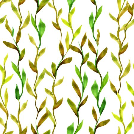 Simlpe seamless seaweed pattern. Abstract watercolor free hand drawn illustration for wrapping, background, textile