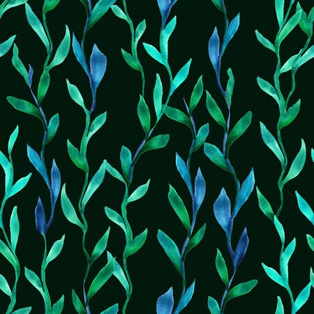 Simple seamless seaweed pattern. Abstract watercolor free hand drawn illustration for wrapping, background, textile
