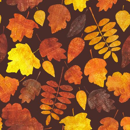 Autumn leaves seamless pattern. Abstract watercolor free hand drawn illustration for wrapping, background, textile