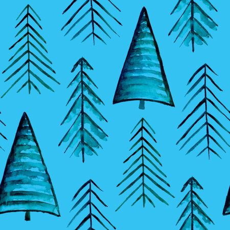 Simple fir-tree pattern. Abstract watercolor free-hand illustration for greeting card, invitation, banner, wrapping, cloth, textile, paper, wallpaper background