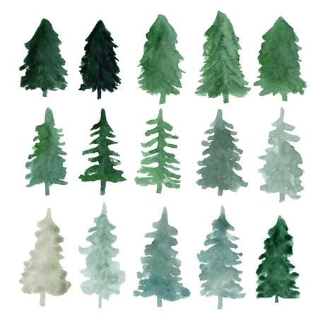 Fir-trees silhouettes isolated. Abstract watercolor hand drawn illustration for winter postcard, poster and pattern Stok Fotoğraf