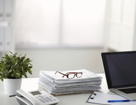 office life: life office, documents, phone. Stock Photo