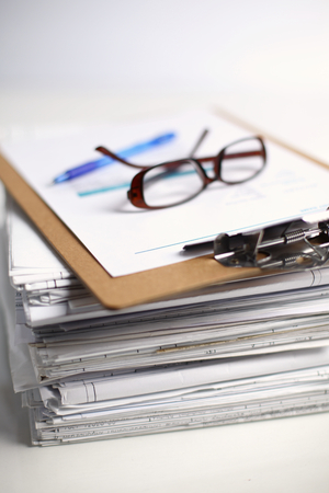 stack of papers: Big stack of papers ,documents on the desk . Stock Photo