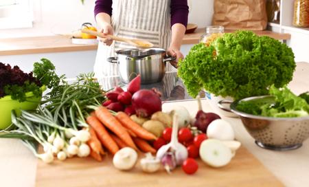 Cook's hands preparing vegetable salad - closeup shot. Standard-Bild