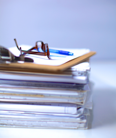 pile of documents: Big stack of papers ,documents on the desk . Stock Photo