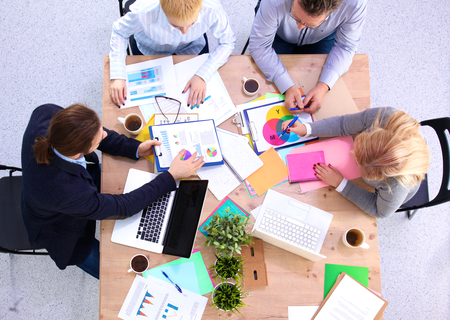 sales team: business meeting at the table top view. Stock Photo