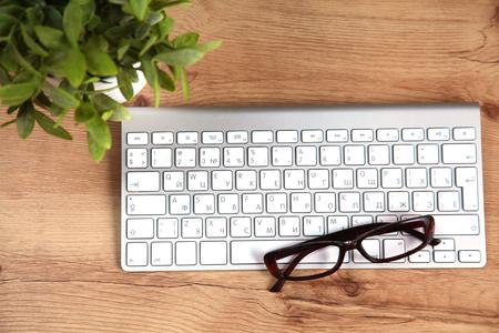 aluminum: Modern aluminum computer keyboard on the table.