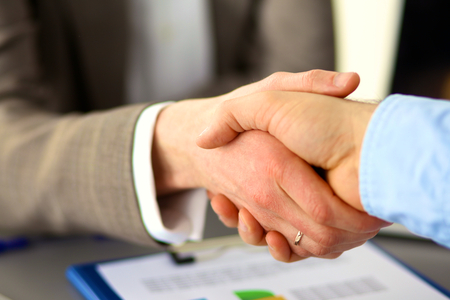 business executive: Business handshake. Two businessman shaking hands with each other in the office.