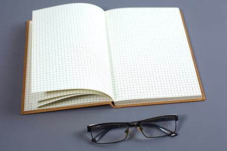 open notebook: open notebook. isolated gray background.