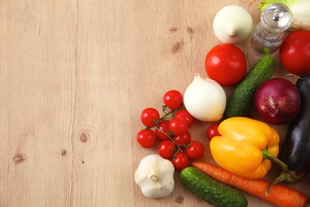 detoxification: Composition with assorted raw organic vegetables wooden table. Stock Photo