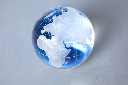 earth map: Cristal globe of the Earth on a Computer. Stock Photo