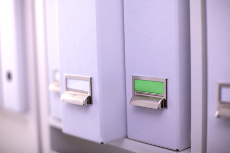 file folders: File folders, standing on  shelves in the background.