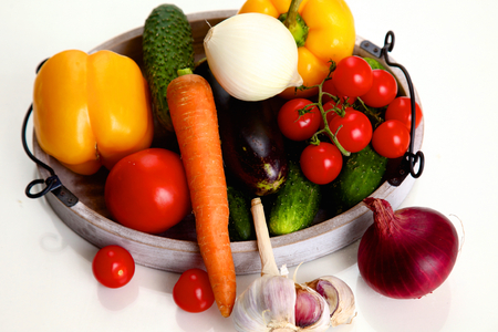 consuming: Composition with assorted raw organic vegetables Stock Photo