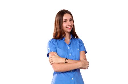 tumb: Smiling woman showing tumb sign. Isolated on white background.