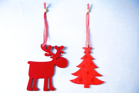 Christmas. Reindeer and Christmas tree isolate on white. Stock Photo