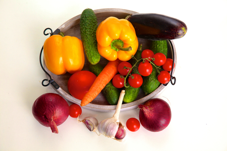 Composition with assorted raw organic vegetables on table. Stock Photo