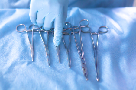 surgical glove: Surgical instruments are on the table before the operation