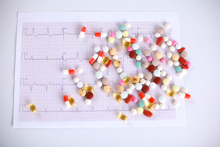 Heart disease abstract sign symbol with cardiogram Stock Photo
