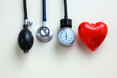 Blood pressure meter medical equipment isolated on white Standard-Bild