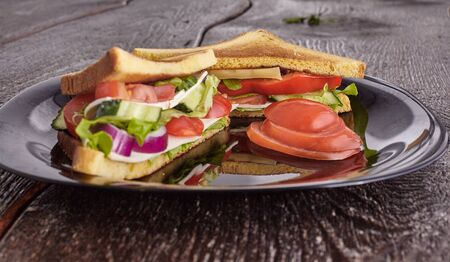 veggie sandwich on a plate with tomatoes