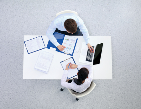 business matter: Group of business people busy discussing financial matter  Stock Photo