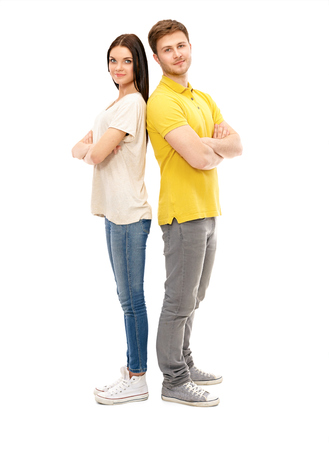 Portrait of happy couple isolated on white background photo