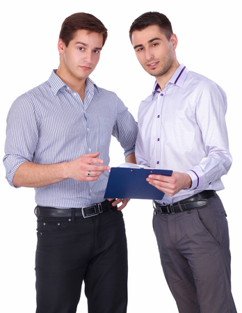 Young two men standing with folder, isolated on white backgroun photo