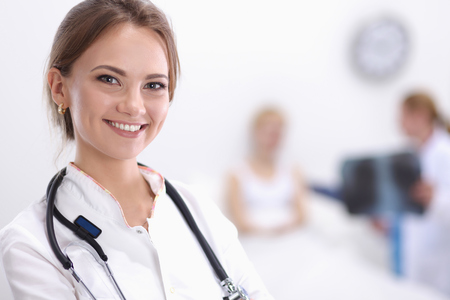 Portrait of woman doctor at hospital photo