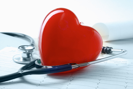 Red heart and a stethoscope photo