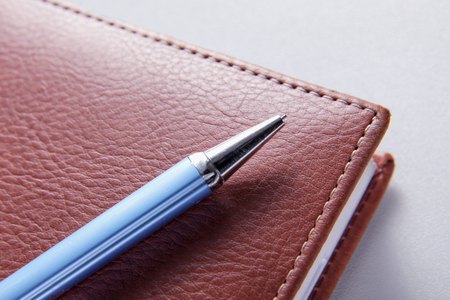 classic authors: brown red leather notebook with pen